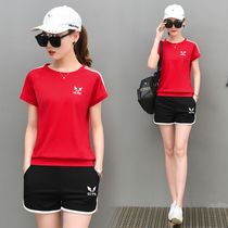 2019新款韩版休闲运动套装女夏季短袖短裤纯棉学生显瘦跑步两件套