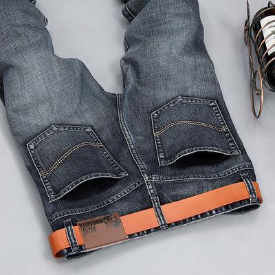 以纯2018男式牛仔裤男休闲潮流长裤青年磨白直筒修身牛仔裤