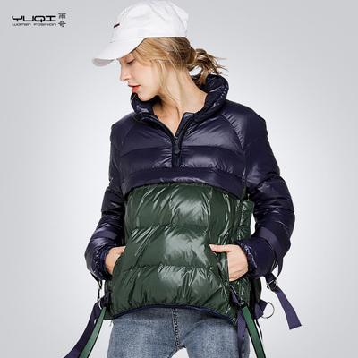 雨奇2017冬装新款套头羽绒服女欧洲站短款时尚轻薄羽绒服外套女