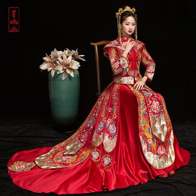 墨婉彩凤拖尾新娘礼服