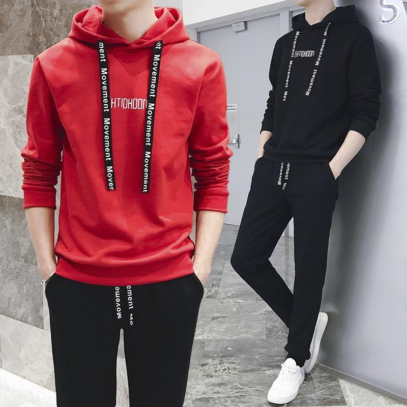 男士秋冬装两件套潮流套头卫衣休闲运动套装男全套青少年上衣裤子