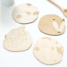 创意礼品 新品 可爱卡通动物系列木质餐杯 四款 隔热
