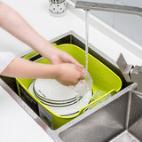 Drainage basket of imported Korean vegetable wash basin Plastic rectangular large kitchen domestic sink wash fruit dish wash basket