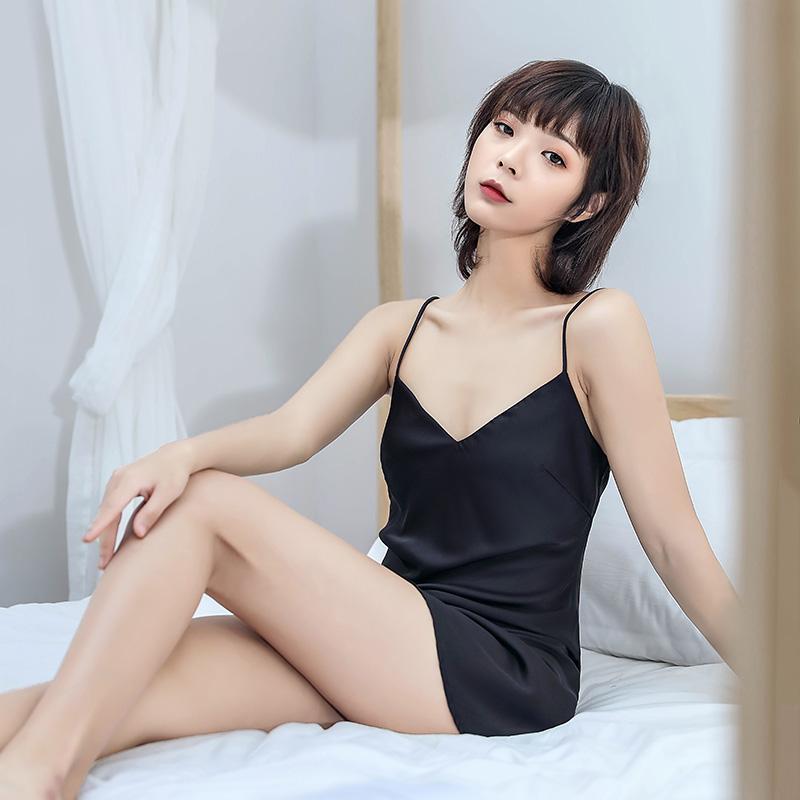 睡裙女夏冰丝薄款性感丝绸吊带韩版情趣黑色仿真丝家居服睡衣