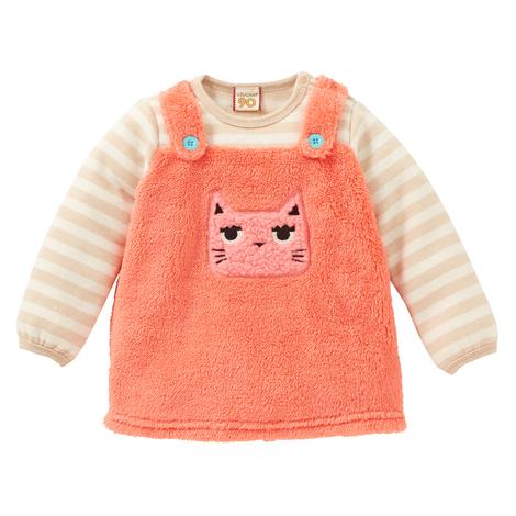 nissen 日本 18秋冬(现货)女宝宝珊瑚绒假两件卫衣