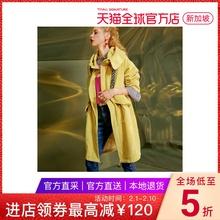 【自营】妖精的口袋灯芯绒字母印花连帽复古chic风衣中长款女图片