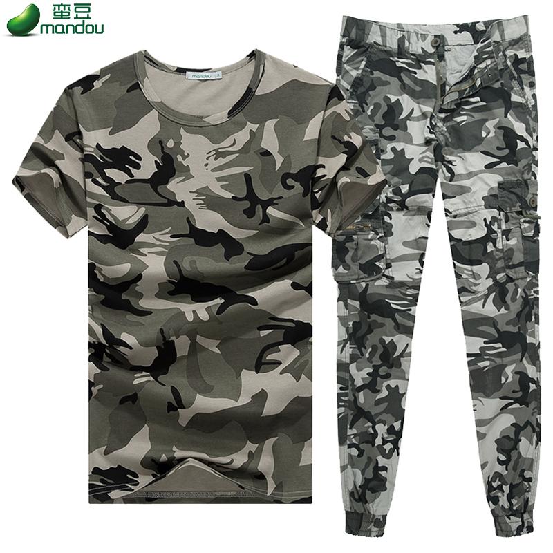 夏季迷彩服套装男特种兵短袖T恤 作战训练服束脚收口工装裤两件套