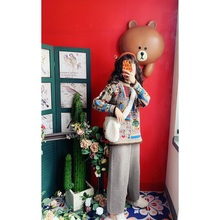 Jia Cuicui's self-made kid's funny ancient three-dimensional letters Little Bear hand-pieced hand-pulled sweater jacket girl
