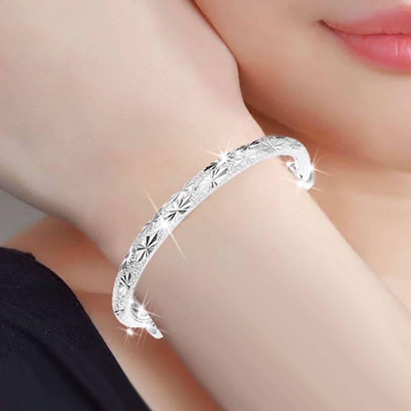 高档质量满天星玉手镯女学生韩版简约镀999银 送戒指