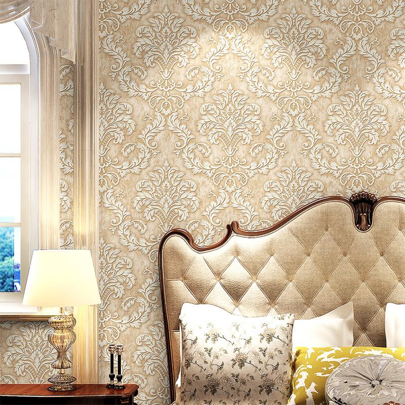 欧式大马士革无纺布墙纸客厅卧室电视背景墙3D立体浮雕壁纸5010