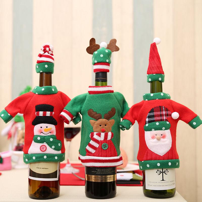 新款圣诞节装饰酒瓶套 圣诞刺绣卡通酒瓶套 圣诞节日餐桌装饰品