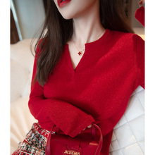 Red Flash Silk Sweater Western Style Bright Silk Top Small Fragrance Soft Bottoming Shirt Autumn and Winter V-neck Sweet Cashmere Sweater