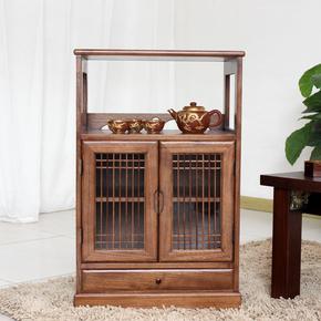 新中式仿古茶水柜厨房储物柜实木餐边柜碗柜客厅玄关酒柜收纳柜子