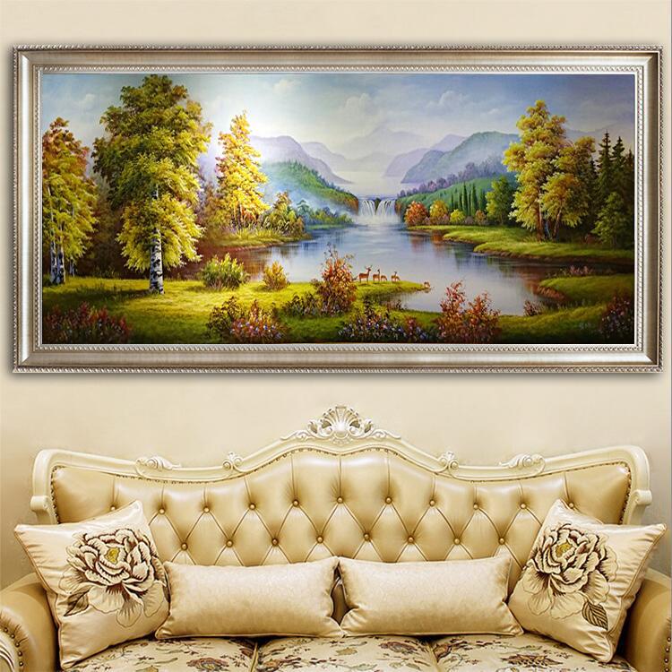 手繪油畫定制歐式山水風景畫聚寶盆走廊掛畫鹿客廳壁畫玄關裝飾畫