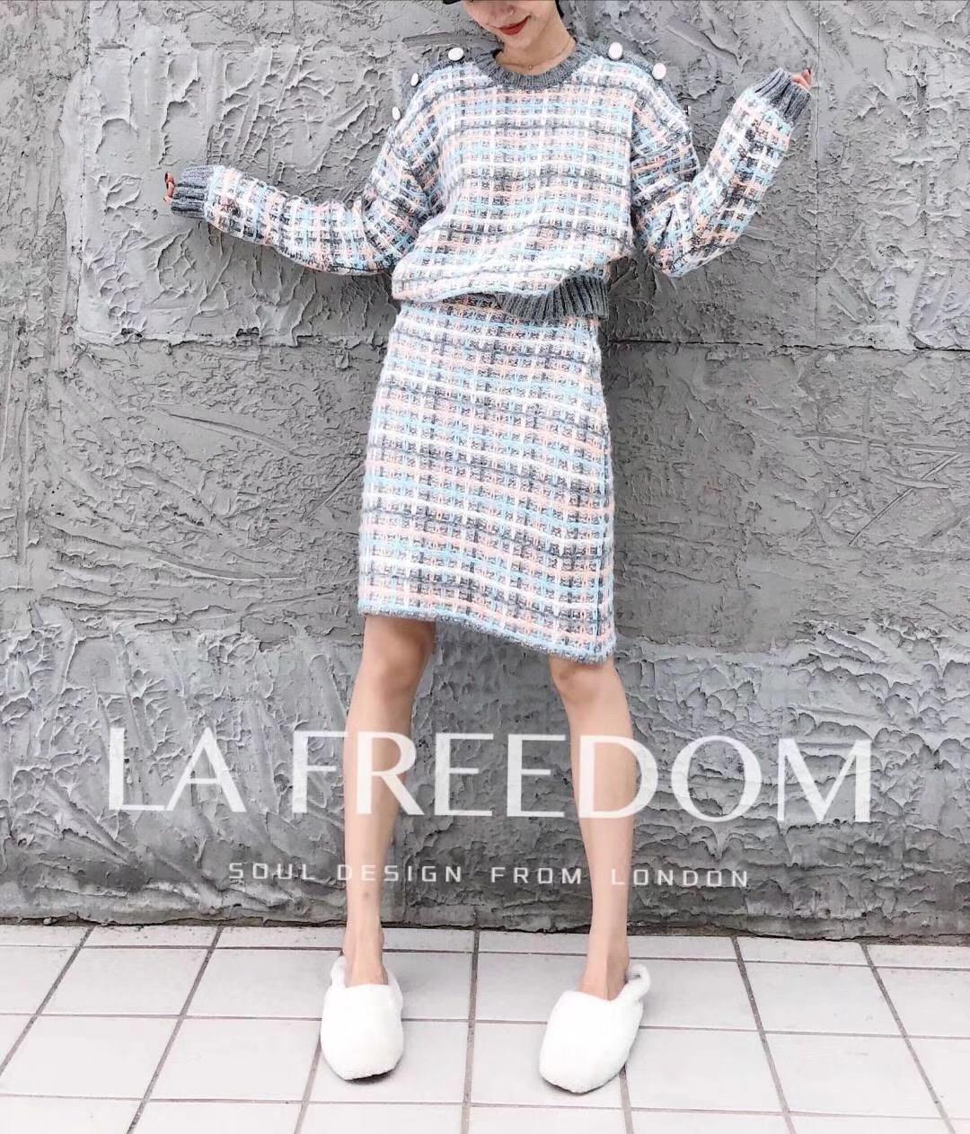 特价包邮 官方正品 设计师品牌 大格子针织套装