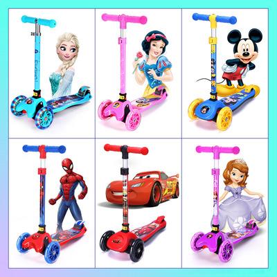 迪士尼滑板车儿童3-12岁8三轮小孩宝宝单脚溜溜滑滑车四轮男女孩6