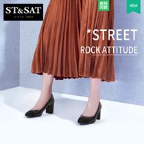 星期六2018春秋款商场同款拼接方头粗跟女单鞋SS81111351St&Sat