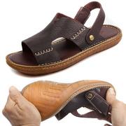牛筋底凉鞋男防滑耐磨真皮软底休闲两用夏季头层牛皮沙滩鞋皮凉鞋