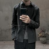XIACHI新款春装方领长袖衬衫黑色做旧全棉男士休闲衫日系修身复古