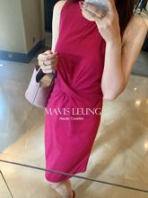 MAVISLEUNG19春夏高端品质交叉绑带显瘦无袖中款两色连衣裙