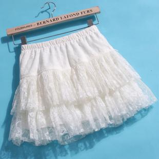 秋冬新款甜美蕾丝蛋糕裙紫 清新蓬蓬裙 修身显瘦半身短裙子
