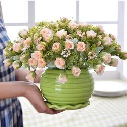超值推荐客厅餐桌盆栽假花仿真花摆设家居装饰花花艺套装绢花摆件