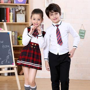 夏装短袖男女儿童幼儿园园服英伦风演出背带裙裤子小学生班服校服
