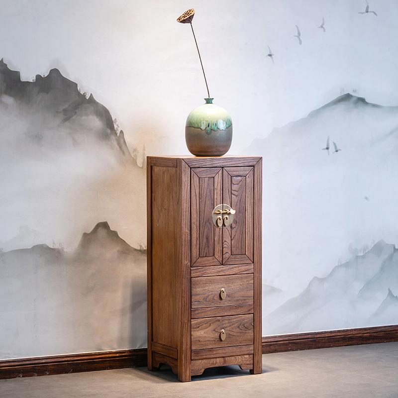 新中式角柜实木边角拐角玄关柜转角置物架客厅墙角边柜仿古小柜子