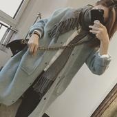 韩国单休闲风纯色洋气兔绒暗扣中长款毛衣开衫女秋冬宽松针织外套