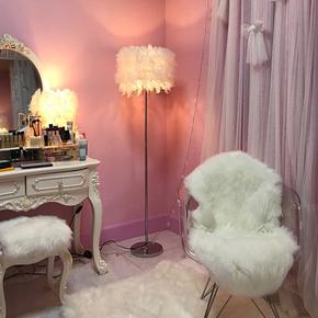 现代简约北欧落地灯卧室床头客厅创意遥控羽毛灯公主立式台灯美式