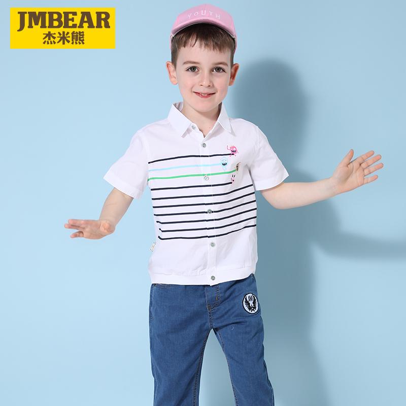 杰米熊童装男童夏季短袖衬衫纯棉衬衣2019夏装新款男小童打底衫潮