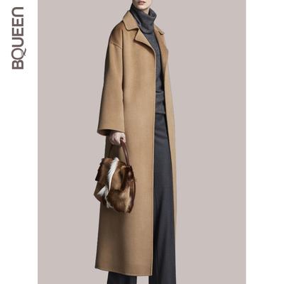【清仓】2017冬新款女装欧美大衣女过膝长款气质修身名媛外套毛呢