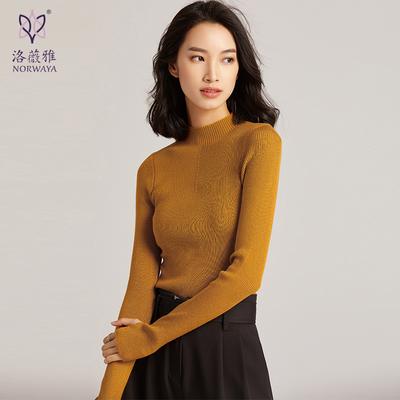 半高领毛衣女洛薇雅2018秋冬新款长袖修身羊毛衫女坑条打底衫薄款