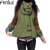 Artka阿卡小精灵复古植物绒呢刺绣亲子装棉衣MA10930D送围巾
