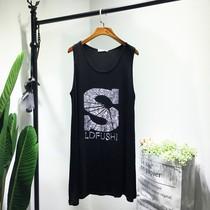 2018夏装新款欧美大码女装烫钻字母无袖打底背心裙显瘦连衣裙