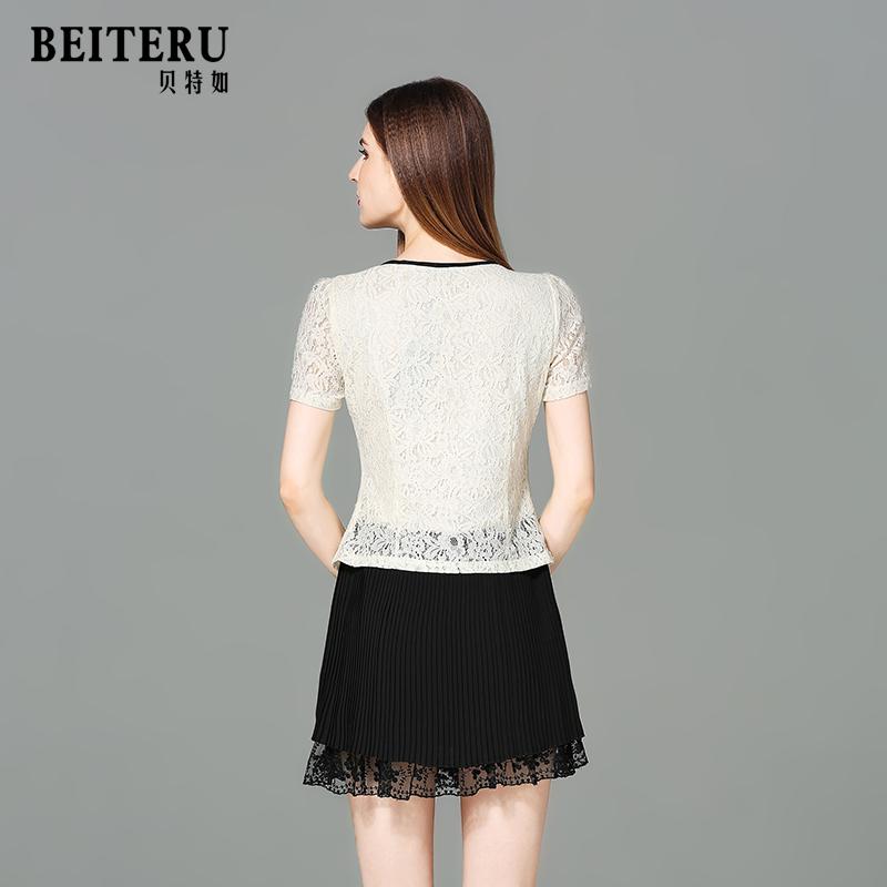 贝特如女装2018新款夏短袖时尚气质年轻妈妈连衣裙收腰蕾丝裙子YS