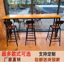 铁艺家用吧台桌简约靠墙小水吧台实木长条高脚桌酒吧桌咖啡厅桌椅