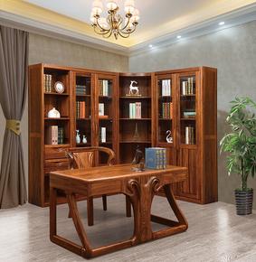 乌金木全实木书柜奢华高端别墅家具书房组合书柜两门三门转角书柜