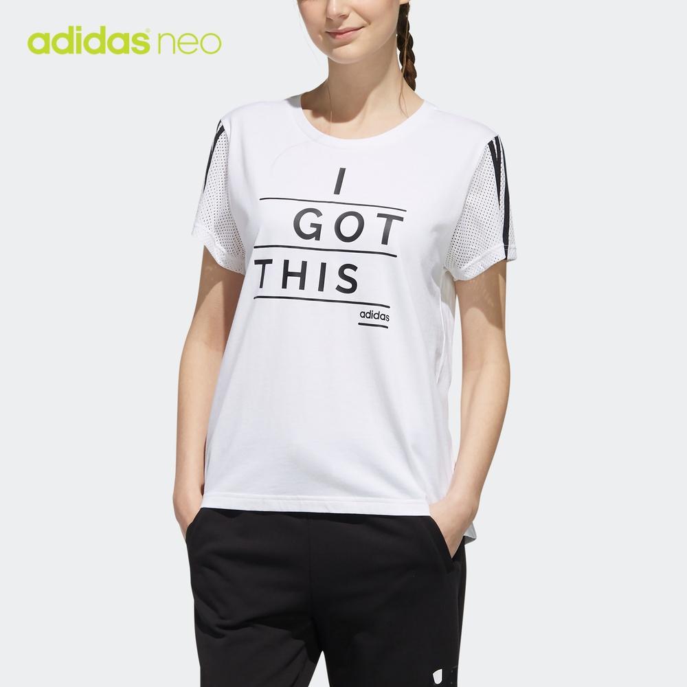 阿迪达斯官网adidas neo W FV TEE 女装运动短袖T恤DW7788 DW7816