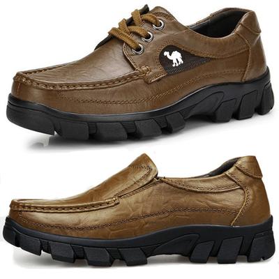 米斯特 骆驼男鞋真皮透气头层牛皮户外单鞋商务休闲皮鞋防滑男鞋