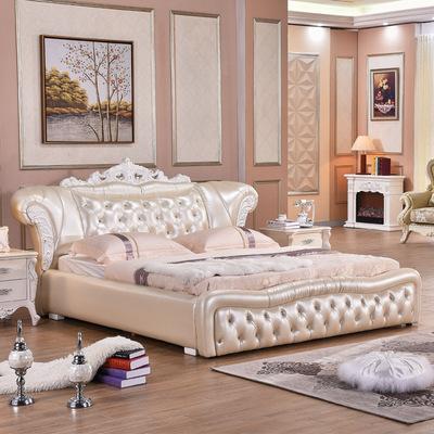 欧式实木床 主卧1.8米双人 1.5米真皮婚床公主床 皮艺软床正品热卖
