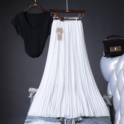 夏季新款百搭高腰雪纺百褶半身裙中长裙飘逸大摆沙滩度假长裙
