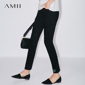 Amii2018夏修身撞色印花休闲九分裤