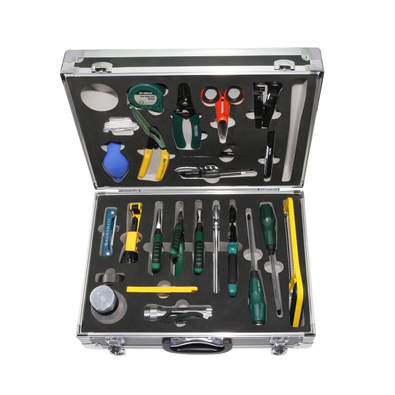 光缆工具箱 光纤施工工具箱 hro-24 25件套 热熔工具箱 光纤工具包 家用工具箱 熔接机工具箱工具套装