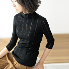Hollow-out thin medium-long sleeve half-high collar knitted sweater, self-improvement and bottom-setting woolen sweater, Female Autumn 5-color 1047