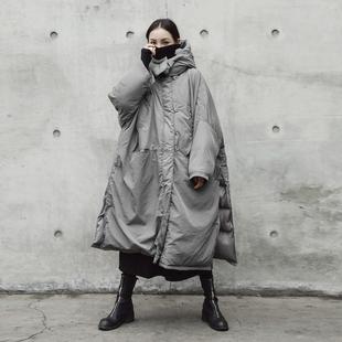 SIMPLE BLACK 冬季新款灰色加厚开衩宽松大棉衣外套棉袄
