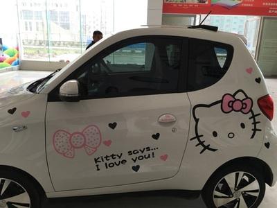 知豆D1D2电动车卡通可爱HelloKitty装饰贴纸车身拉花汽车改装车贴图片