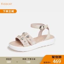 接吻猫2019夏季新款牛皮革时尚低跟厚底凉鞋KA09307-57