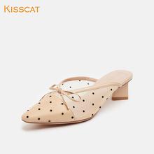 Kisscat接吻猫2019夏季新款特材时尚小方头异形粗跟晚宴穆勒拖女图片