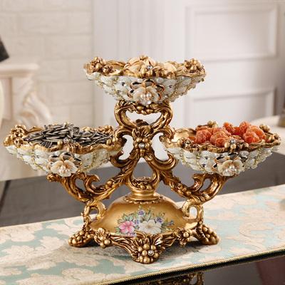 欧式高档水果果盘套装多层镶钻干果盘客厅茶几摆件创意家居装饰品